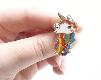 Rainbow unicorn, enamel pin, unicorn gift, hard enamel, lapel pin, badge, rainbow jewellery, rainbow unicorn gift, cute animal, rainbow hair