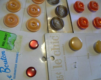 Buttons, assorted shapes, sizes and colors, shank and flat, orange, butterscotch, red, vintage le chic, Le Bouton