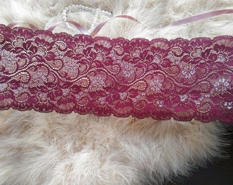 1yd (0.91m) of Raschel Stretch Lace- Burgundy wine red and cherry blossoms pattern - 13cm(5.1inch) Wide,RL_SL025
