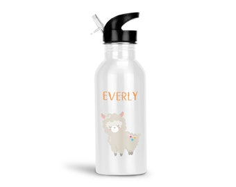 Llama Kids Water Bottle - Llama Party with Name, Child Personalized Stainless Steel Bottle BPA Free Back to School