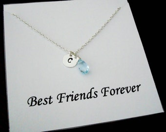 Blue Topaz Briolette with Letter Initial Silver Necklace ~Jewelry Gift Card for Best Friend, Sister, Cousin, Bridal Party, Graduation
