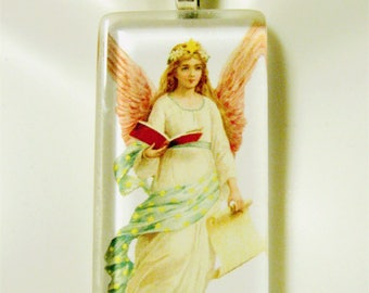 Angel with book and scroll pendant with chain - GP01-412