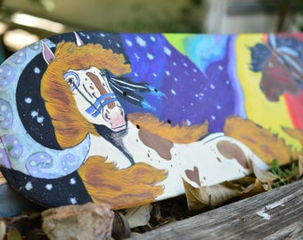 Horse Painting on an recycled skateboard deck