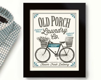 Front Porch Laundry Room Decor Bicycle Art Country Decor Washing Machine Old Porch Home Art Sign Wall Art Print Clean Dirty