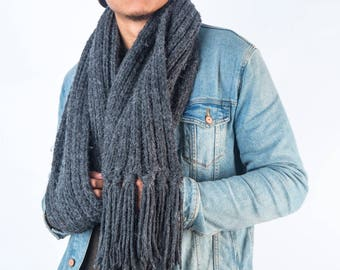 Grey Chunky Knit Scarf/Wool/Alpaca/Ribbed Scarf/Bespoke/EdenCollection