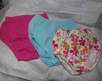 3 paire de 3 mois à 6 mois, couvre-couches de bleu de rose, lite lumineux et coloré floral print - dcs2