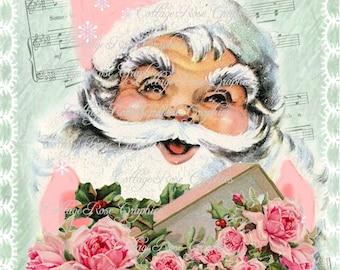 Pink Santa Shabby Christmas box of roses Large digital download ECS buy 3 get one free