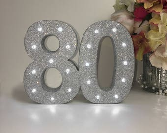 Light up number, 80th birthday, anniversary number, Birthday party decor, 80th anniversary party, Birthday present, Bespoke luxury gift