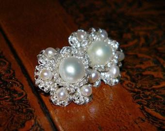 Bridal pearl earrings, crochet earrings, bridal pearl jewelry, large stud earrings, handmade earrings