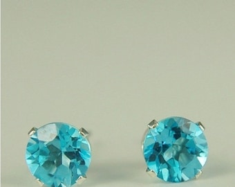 MothersDaySale Swiss Blue Topaz Stud Earrings Sterling Silver 6mm Round 2ctw