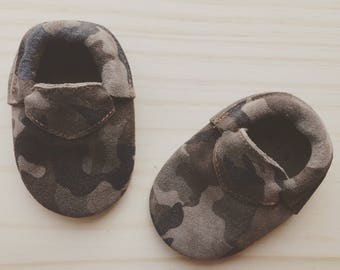 Camo Baby Moccasins Leather 100% Genuine Leather Baby Moccasins Moccs Moccasins for Baby Boy