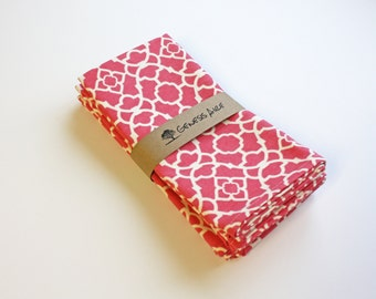 Set of 4 Coral Cloth Dinner Napkins // Hot Pink Dinner Napkins // Eco-friendly 100% Cotton Twill Fabric