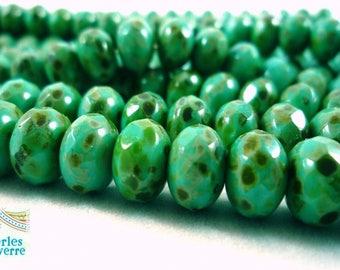 8 Czech beads, donuts Green turquoise Picasso, 9x6mm (ptch9)