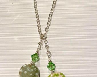 Sterling Silver, Swarovski Crystal, Kazuri Bead Lariat Necklace - FREE SHIPPING