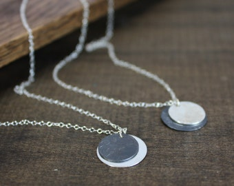 Mixed Metal Disc Necklace - Sterling Silver, Oxidized