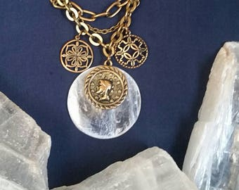 STATEMENT Necklace Crystal Jewelry / Crystal Selenite Necklace Moon Goddess Jewelry / Clear Crystal Necklace / Wicca Pagan Moon Jewelry