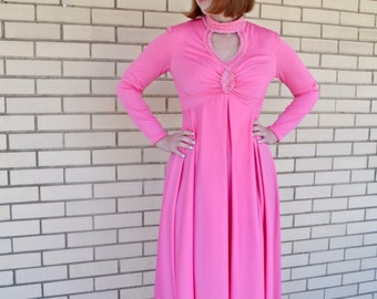 70s hot pink maxi dress, vintage dress small, 1970s embroidered formal dress disco, eveningwear formalwear, empire waist bridesmaid
