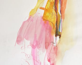Original fashion illustration mixed technique on paper 42x29.7 cm