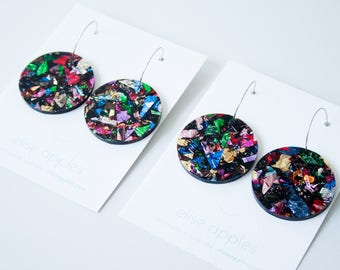 Full moon large dangle / drop earrings   Kaleidoscope glitter   Laser cut acrylic   Handmade