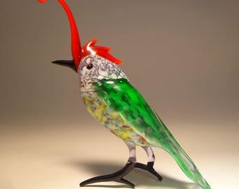 Handmade  Blown Glass Figurine  Art Green with a Red Crest Bird Roadrunner