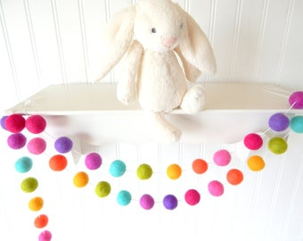 Rainbow Birthday Party, Rainbow Garland Nursery Decor, Birthday Garland, Baby Shower Decor, Party Garland, Cake Smash, Felt Ball Garland
