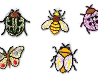 Insects Iron on Embroidered Appliques 5 pcs Patches