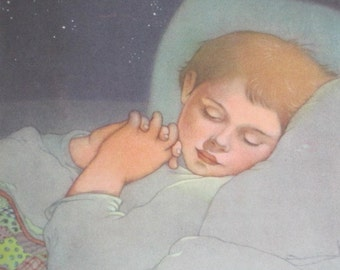 Vintage Illustration, Sleeping Boy, Marjorie Torrey Art, 1940s Color Illustration, Boy with Quilt, 1946 Sing in Praise, Caldecott Honor Book
