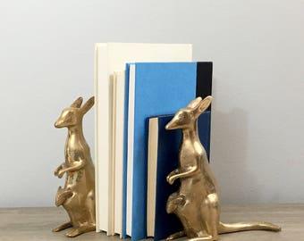 Vintage Brass Kangaroo Bookends Pair Set Female Roo Joey Animal Statues Figurines