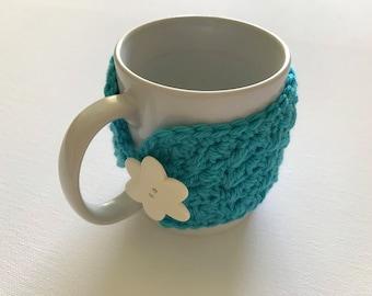 Blue mug cozy, turquoise cup cozy, tea cup cozy, Xmas gift, gift idea, crochet mug cozy, mug hug,,mug hugger
