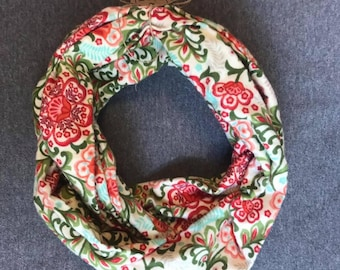 Floral Printed Flannel Infinity Scarf