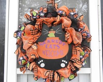 Halloween Scaredy Cats Welcome Deco Mesh