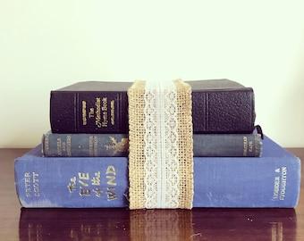 Blue set of 3 vintage books, vintage book set, lace bound books, vintage wedding centre piece, vintage hymn book, Angels and Ministers.