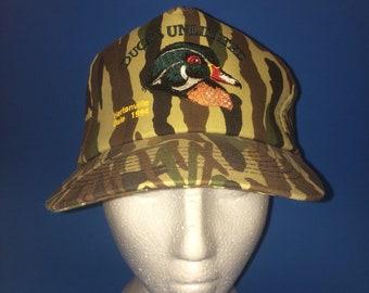 Vintage Ducks Unlimited Trucker Snapback Hat camouflage 1980s