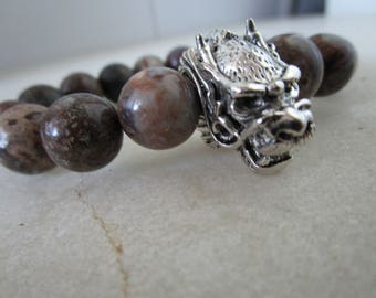 Dragon Bracelet Natural stone bracelet Peruvian opal bracelet for men gift for men jewelry for men jewelry Dragon mens gift stone bracelet