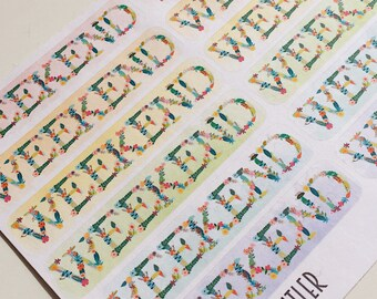 F015--Floral Watercolor Weekend Banners PlanningStickers for the Erin Condren Vertical ECLP or Happy Planner