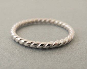 Twist Ring Sterling Silver coil Pattern Ring sterling silver stacking rings nautical gifts for women