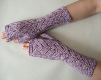 Knitted of 100 %  baby MERINO wool. Light LAVENDER color ( light purple ) fingerless gloves, wrist warmers, fingerless mittens. Handmade.