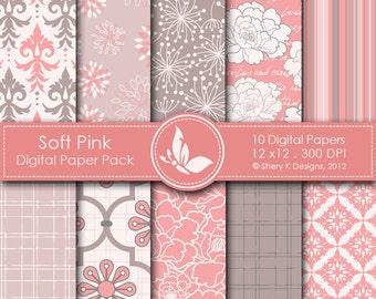 Soft Pink Paper Pack - 10 printable Digital Scrapbooking papers - 12 x12 - 300 DPI