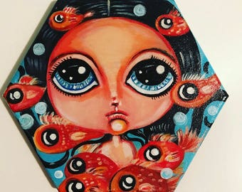 Sale! Beautiful big eyed girl swimming with fishes fantasy painting cute kawaii room decor