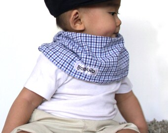 "Modern Bib (Blue Gingham) All in One Scarf & Bib ""Scabib""tm for babies or toddlers"