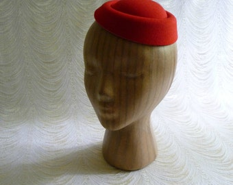 Lipstick Red Pillbox Style Faux Wool Felt Fascinator Base for DIY Hat Projects Millinery Supply