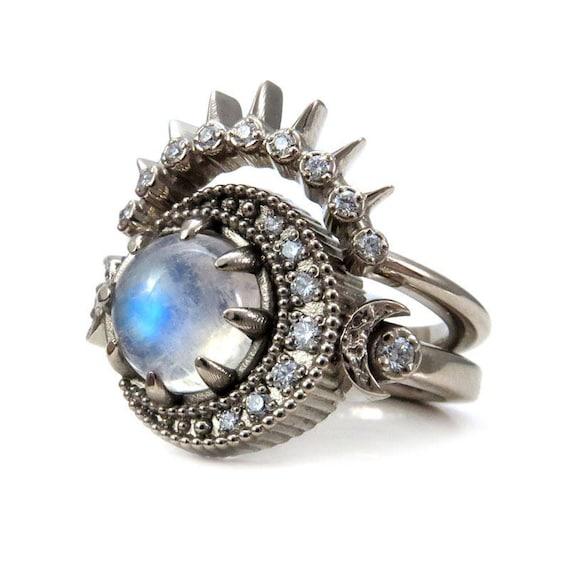 Rainbow Moonstone Moon Phase Engagement Ring Set - Diamond Crescent - 14k Yellow, Rose or Palladium White Gold