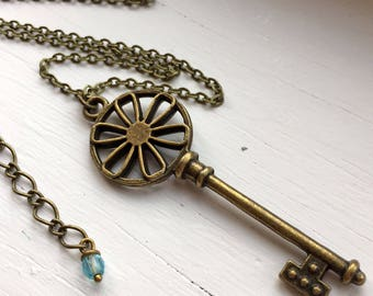 Antique Brass Necklace with Large Key Pendant