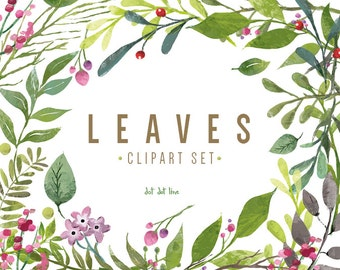 Leaves Clipart Set- INSTANT DOWNLOAD Branches clipart, Ferns clipart, Leaf clipart, Forest Leaves, Greenery Leaf Branches and Stems graphics