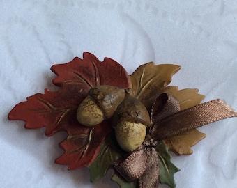 Bakelite Autumn Leaf Brooch