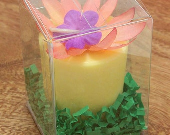 Gardenia Candle Gardenia Scented Large Votive Candle Yellow Soy Candle Unique  Retro Vintage Silk Flower Gift Box Made in Hawaii