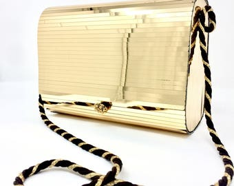 Gold Vintage tassel clutch bag with rope strap