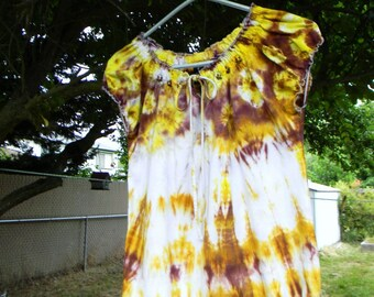 Indian Summer Beaded Tie Dyed Upcycled Peasant Blouse