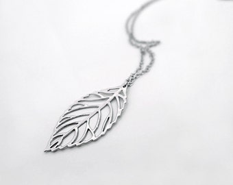 Leaf necklace, silver long leaf necklace gift, filigree charm pendant, simple delicate everyday jewelry for her, by balance9