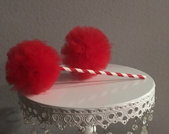 Pom pom for 4th July decoration . 3 Tulle pom poms wands, Pom poms Tulle decorations , Pom poms tulle centerpiece . Qty. 1= 3 pom poms
